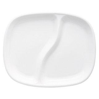白磁軽量強化二つ仕切スクエア22cm 洋食器 ランチプレート 業務用 約21.7cm 洋食 仕切皿 ワンプレート