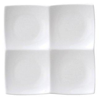 AngelWhite フォーインワンディッシュ 小・白 白い器 洋食器 仕切プレート 業務用 約20cm ビュッフェ 仕切皿