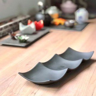 Blackfairy スリーインディッシュ 小・黒 黒い器 洋食器 仕切プレート 業務用 約31.3cm ビュッフェ 仕切皿