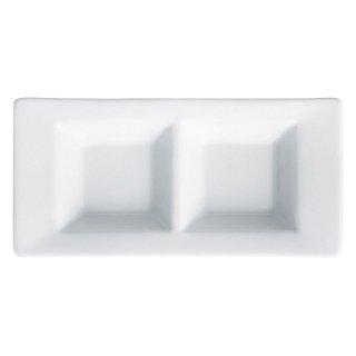 アペクス白 二つ仕切皿 白い器 洋食器 仕切プレート 業務用 約18.2cm ビュッフェ 仕切皿 おしゃれ