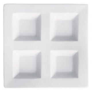 アペクス白 四つ仕切皿 正角型 白い器 洋食器 仕切プレート 業務用 約17.8cm ビュッフェ 仕切皿 おしゃれ