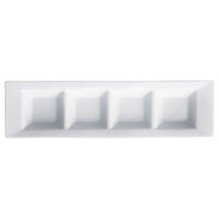 アペクス白 四つ仕切皿 長角型 白い器 洋食器 仕切プレート 業務用 約31.8cm ビュッフェ 仕切皿 おしゃれ