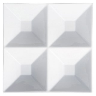 白磁深口四品プレート 白い器 洋食器 仕切プレート 業務用 約24.6cm ビュッフェ 仕切皿 おしゃれ
