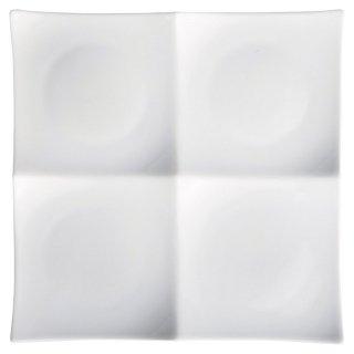 白磁浅口四品プレート 大 白い器 洋食器 仕切プレート 業務用 約25cm ビュッフェ 仕切皿 おしゃれ
