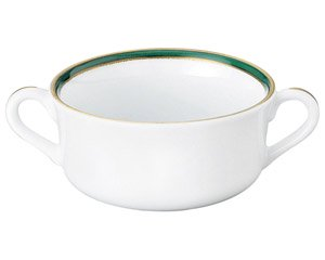 UDE ウルトラホワイトラインカラーグリーン 両手スープ 洋食器 両手スープ 業務用