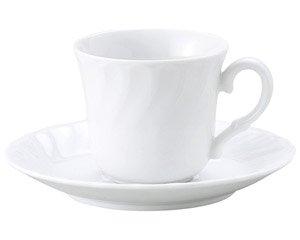KWホワイト コーヒー碗皿 洋食器 カップ&ソーサー コーヒー 業務用 喫茶店 珈琲屋 カフェ ケーキ屋 花柄 シンプル パン屋