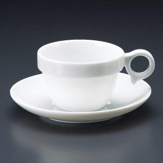 MARU手付きスタックカップ中碗皿 洋食器 カップ&ソーサー アメリカン 業務用 ライトコーヒー シンプル ケーキ屋