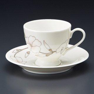 NBヴォーグコーヒー碗皿 洋食器 カップ&ソーサー コーヒー 業務用 喫茶店 珈琲屋 カフェ ケーキ屋 花柄 シンプル パン屋