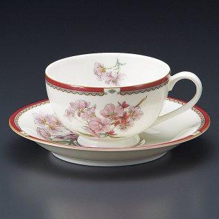 NBサクラ紅茶碗皿 桜 洋食器 カップ&ソーサー 紅茶 業務用 洋風 高級感 おしゃれ 花柄 ケーキ屋 イタリアンレストラン