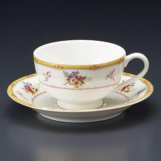 NBブランシェ紅茶碗皿 洋食器 カップ&ソーサー 紅茶 業務用 洋風 高級感 おしゃれ 花柄 ケーキ屋 イタリアンレストラン