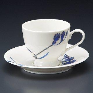 NBブルーランコーヒー碗皿 洋食器 カップ&ソーサー コーヒー 業務用 喫茶店 珈琲屋 カフェ ケーキ屋 花柄 シンプル パン屋