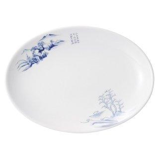上絵山水 9吋メタプラター 中華食器 プラター(M) 業務用 楕円皿 日本製 磁器 約23.3cm 中華皿 餃子皿 ギョーザ皿 餃子用 楕円プレート 小判皿 オーバル おしゃれ
