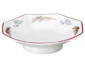 朱渕萬漢龍 6.5八角皿 中華食器 八角皿 業務用 日本製 磁器 約19.5cm チャーハン シュウマイ シューマイ 中華皿 プレート 伝統的 昔懐かし