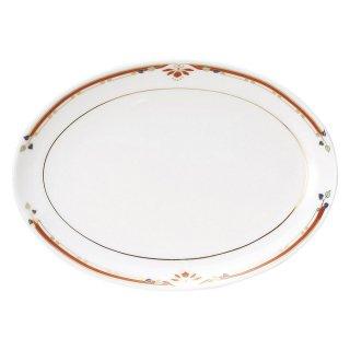 ニューボン紅華妃 10吋プラター 中華食器 プラター(M) 業務用 楕円皿 日本製 磁器 約26.3cm 大き目 中華皿 餃子皿 ギョーザ皿 楕円プレート 小判皿 オーバル 大皿