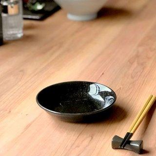 ニューアジアン 14cm 深皿 黒 中華食器 取皿 業務用 日本製 磁器 取り皿 小皿 黒系 シンプル プレーン 定番 スタンダード
