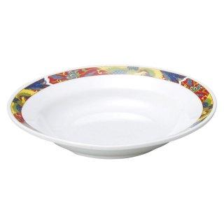 紅翔鳳 8吋スープ皿 中華食器 丸皿(M) 業務用 日本製 磁器 約21cm 単品メニュー用 定食用皿 中華皿 プレート 盛皿 エビチリ 酢豚 中国料理