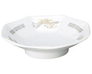 雷門鳳凰 6.5八角皿 中華食器 八角皿 業務用 日本製 磁器 約18.5cm チャーハン シュウマイ シューマイ 中華皿 プレート 伝統的 昔懐かし