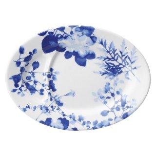 フローラル 仕切り付9吋皿 中華食器 プラター(M) 業務用 楕円皿 日本製 磁器 約22.5cm 中華皿 餃子皿 ギョーザ皿 餃子用 楕円プレート 小判皿 オーバル おしゃれ