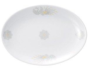 北京 8吋プラター 中華食器 プラター(M) 業務用 楕円皿 日本製 磁器 約21cm 中華皿 餃子皿 ギョーザ皿 餃子用 楕円プレート 小判皿 オーバル
