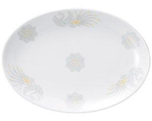 北京 10吋プラター 中華食器 プラター(M) 業務用 楕円皿 日本製 磁器 約26cm 大き目 中華皿 餃子皿 ギョーザ皿 餃子用 楕円プレート 小判皿 オーバル 大皿
