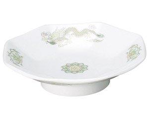 緑鳳龍 八角皿 中華食器 八角皿 業務用 日本製 磁器 約18.5cm チャーハン シュウマイ シューマイ 中華皿 プレート 伝統的 昔懐かし