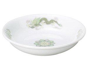 緑鳳龍 4.5深皿 中華食器 取皿 業務用 日本製 磁器 約14.2cm 取り皿 小皿 レトロ おしゃれ セットサラダ