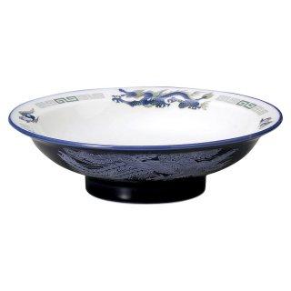 ルリ白竜 7.0丸高台皿 中華食器 丸高台皿 業務用 日本製 磁器 約21.3cm 1人前用 中華皿 天津飯 中華飯 マーボー飯 定番 おしゃれ 人気