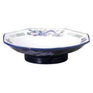 ルリ白竜 八角シューマイ皿 中華食器 八角皿 業務用 日本製 磁器 約19cm チャーハン シュウマイ シューマイ 中華皿 プレート 伝統的 昔懐かし