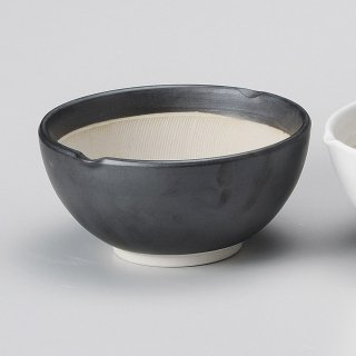 黒マット波紋櫛目丸型6.5寸すり鉢 和食器 すり鉢関連 業務用