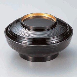 6寸線筋平煮物椀 黒つば金 漆器 煮物椀・雑煮椀 業務用
