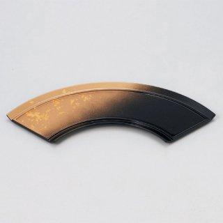 扇面前菜皿 パール色紙金箔 漆器 楕円・変型盛器 業務用