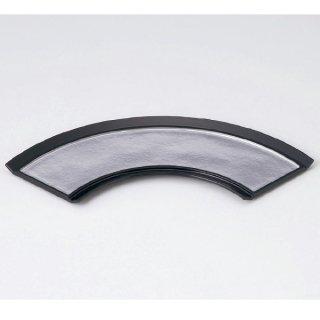 扇面前菜皿 銀雲流渕黒 漆器 楕円・変型盛器 業務用