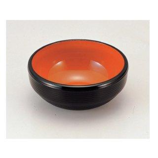 風月千筋鉢黒内朱6寸 漆器 多用鉢・ボール 業務用