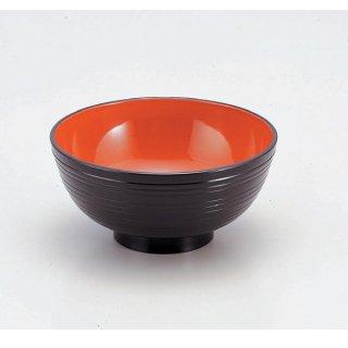 6寸千筋丼 黒内朱 漆器 めん鉢・鉄鉢 業務用
