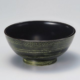 ラーメン丼 緑に白流し 内黒 漆器 めん鉢・鉄鉢 業務用