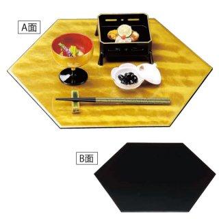 尺5寸六角プレート 金雲流/黒塗 漆器 六角トレー 業務用