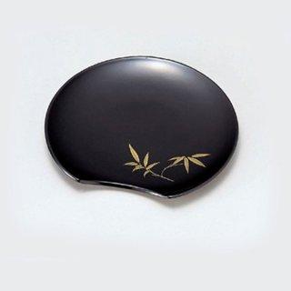 半月銘々皿 黒に笹 漆器 銘々皿業務用