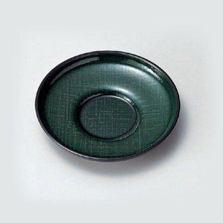 4寸だるま茶托 グリーンかすり布目 漆器 茶托・コースター業務用