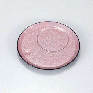 丸茶碗蒸し台 ピンク雲流 漆器 茶碗むし用受台 業務用