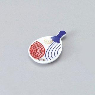 うちわ箸置き 波紋 漆器 箸置 業務用