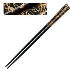 天削塗箸金糸 ブラック 21cm・22.5cm 漆器 塗箸(樹脂)(22cm未満) 業務用
