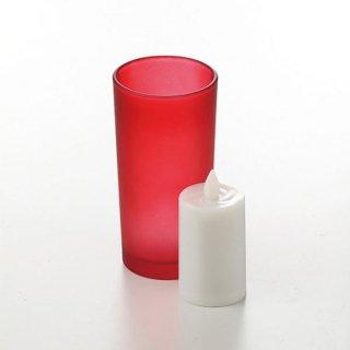 スマートキャンドル グラスバッテリー レッド ガラス ランプ 業務用