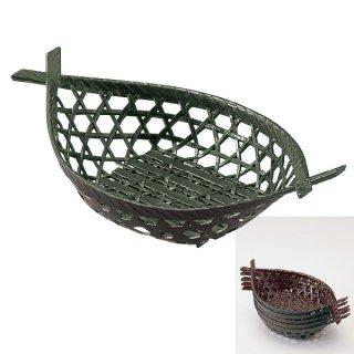 両舟かご グリーン 漆器 かご・手提げ盛器 楕円・変型 業務用