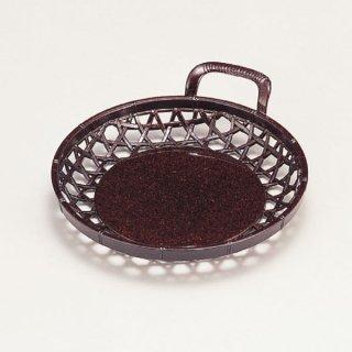 5寸片手かご 茶パール 漆器 かご・手提げ盛器 丸 業務用