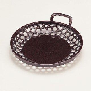 6寸片手かご 茶パール 漆器 かご・手提げ盛器 丸 業務用