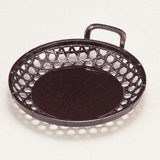 7寸片手かご 茶パール 漆器 かご・手提げ盛器 丸 業務用