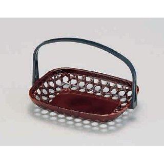 5.5寸長手手提かご 溜 折畳式  漆器 かご・手提げ盛器 長角 業務用