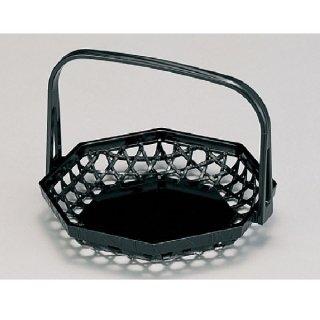 八角竹かご 黒 折畳式  漆器 かご・手提げ盛器 楕円・変型 業務用
