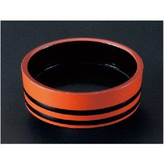 D.X7.5寸盛込桶 朱帯黒内黒塗  漆器 盛込桶 業務用