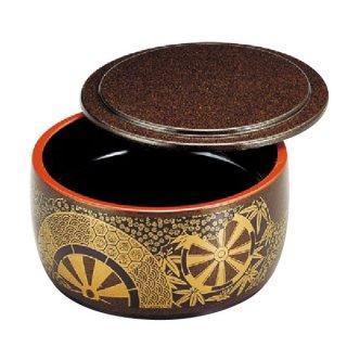 D.X4寸タイコミニ桶梨地御所車内黒塗浅型 蓋付 漆器 ミニ桶 業務用